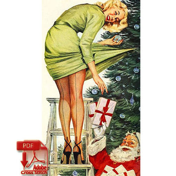 Christmas Pinup girl - vintage risque christmas tree santa woman retro modern cross stitch  - pdf chart pattern -  -INSTANT DOWNLOAD