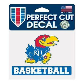 "Licensed Kansas Jayhawks Official NCAA 4"" x 5"" Die Cut Car Decal KU by Wincraft 383716 KO_19_1"