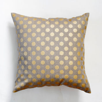 Linen gray pillow cover with gold print dots - decorative covers - shams - throw pillows - polka dot pattern- 18x18