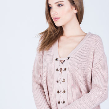 Chunky Lace-Up Sweater
