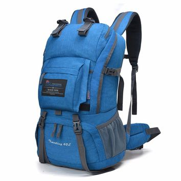40L Internal Frame Travel Climbing Bag Waterproof Polyester Material Unisex Outdoor Backpack for Camping Hiking, with Rain Cover