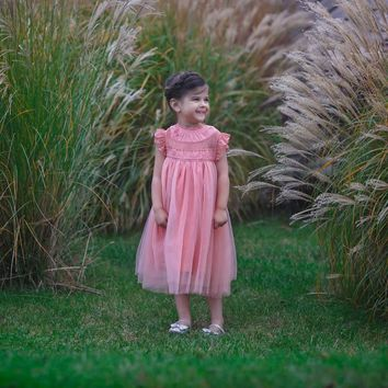 Magnolia Blooming Dahlia Coral Pink Ruffle & Tulle Smock Dress