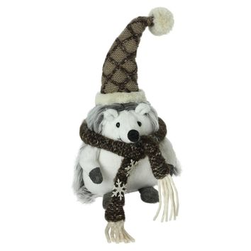 """8"""" Plush Brown and White Fuzzy Hedgehog in Snowflake Scarf Christmas Decoration"""