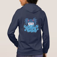 Geek Girl With Blue Hair Ponytails And Flowers Hoodie