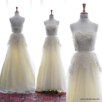 Custom Wedding Gown- Summer Sunshine-Alencon lace and tulle A-line floor length wedding dress-made to order