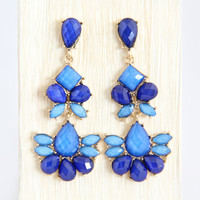 Royal Blue Flapper Earrings