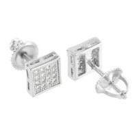 Square Shape Mens Studs Earrings Simulated Diamonds Screw Back
