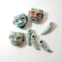 Blue Ceramic Face Beads and Decorative Teeth by LemachiDesigns