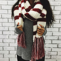Maroon Striped Scarf & Beanie Combo