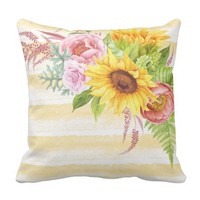 Watercolor Sunflowers Peonies Roses Stripes Throw Pillow