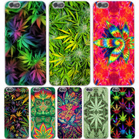 Weed Leaf Hard Transparent Cover Case for Huawie P9 Lite Plus P8 Lite P7 P6 G7 & Honor 4C 4X 6 7