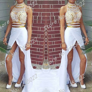 Two Piece White and Gold Prom Dresses with Rhinestones 2015 High Quality Mermaid Side Slit Beaded Crystals Long Evening Dresses
