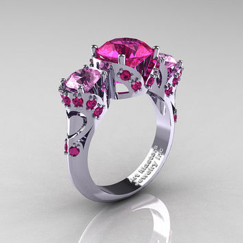 Scandinavian 950 Platinum 2.0 Ct Pink and Light Pink Sapphire Three Stone Designer Engagement Ring R406-PLATLPSPS