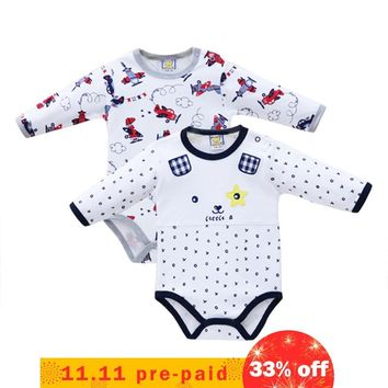 Pure Cotton 2 Pieces/lot Boys Bodysuits Long Sleeve Baby Clothes for Newborn Button Overalls Toddler Clothing 2018
