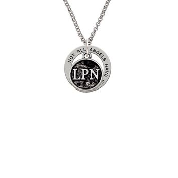 Nurse Caduceus Seal - LPN - Angels Wear Scrubs Affirmation Ring Necklace