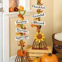 Harvest Rake Pumpkin or Sunflower Fall Autumn Home Decor Seasonal 3 Word Plaques
