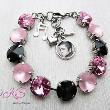 Elvis Inspired, 12mm Swarovski Bracelet, Charms, Adjustable, Rock and Roll, Pink, Black,Music Memory, DKSJewelrydesigns,FREE SHIPPING