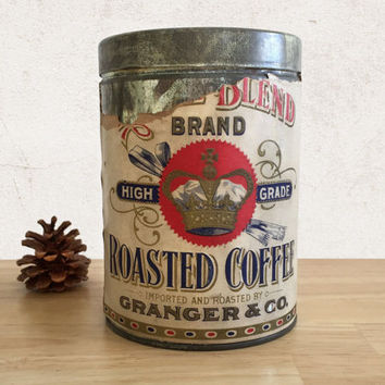 Vintage Coffee Tin Royal Blend Granger & Co with Paper Label / Farmhouse Rustic Decor / General Store Food Can / Advertising Collectible