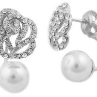 Silvertone Iced Out Flower & Simulated Pearl Stud Earrings