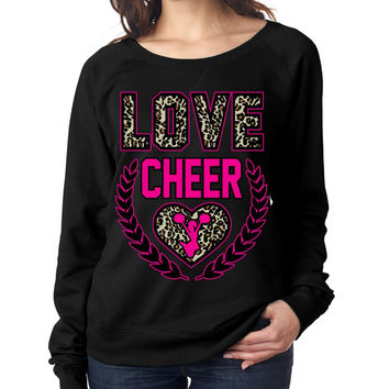 Love Cheer Leopard Womens long sleeve Pullover