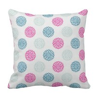 Pink,Blue And Light Gray Color DUTCH WAX Design Throw Pillow