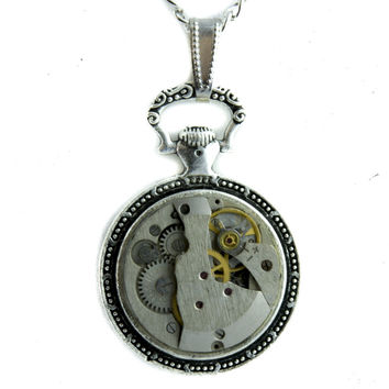 Steampunk Mechanical Watch Parts Necklace Nautical Time Piece Jewelry Pendant