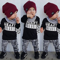 2016 New autumn wniter baby Boys Clothing set letter print Toddler Kids clothes Tracksuit T-shirt Pants 2pcs Set