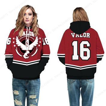 Red Team Valor #16 Womens Skateboarding Hoodies Pokemon GO Moltres Hoodies Tracksuit Autumn Winter Loose Sport Suit Oversize
