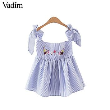 Women slash neck flower embroidery striped pleated shirts off shoulder sweet bow tie blouse summer cute casual tops WT410
