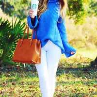 Coffee Date Sweater: Carolina Blue