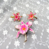 Pink Dragon Lily Jewelry Set Brooch And Earrings Vintage Collectible Gift Item 2082