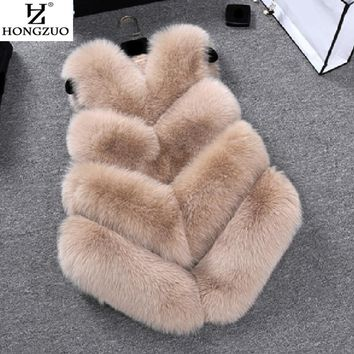 [HONGZUO] 2017 New High Imitation Faux Fox Fur Vest Coat For Women Winter Thick Warm Fur vest Jacket Long Outwear PC235