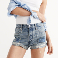 Womens High Rise Tonal Patch Shorts | Womens Bottoms | Abercrombie.com