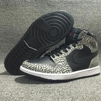 PEAPONNF1 NIKE AIR JORDAN Retro High Black Elephant Print Men Sports Basketball Shoes