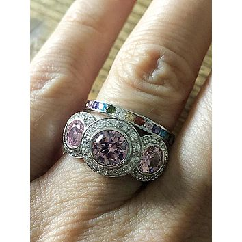 Bespoke Collection, A Flawless 4TCW Round Cut Pink Russian Lab Diamond Bridal Set