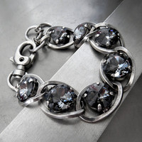 Dark Black Night Swarovski Crystal Bracelet with Antiqued Silver Chunky Thick Chain and Large Clasp, Edgy Tough Sexy Adjustable Bracelet