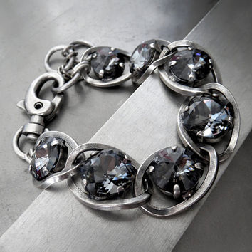Dark Black Night Swarovski Crystal Bracelet with Antiqued Silver bfb4b776c706