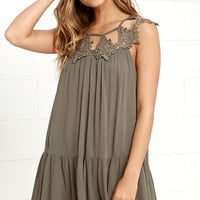 Unforgettable Olive Green Lace Dress