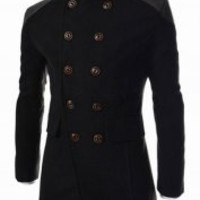 Black Pocket Long Sleeves Coat