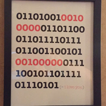 I love you..printed art...Geek gift...binary code...tech savvy....gift..decoration