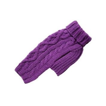Nantucket Cable Knit Wool Sweater — Purple