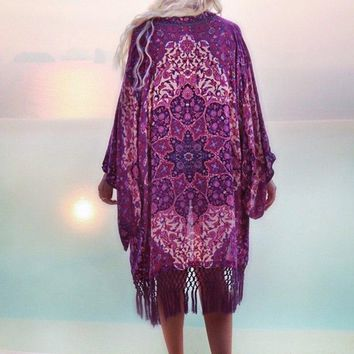 Sexy V-Neck Beach Cover Up 2018 Chiffon Bathing Suit Cover-ups Printing Floral Swimsuit Tassel Women Tops Beachwear