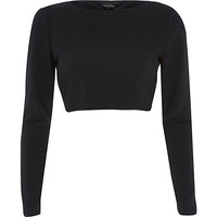 River Island Womens Black knot open back long sleeve crop top