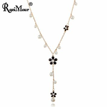 RAVIMOUR Flower Long Necklace for Women Fashion Simulated Pearl Jewelry Tassel Perlas Necklaces & Pendants Bijoux Femme Perle