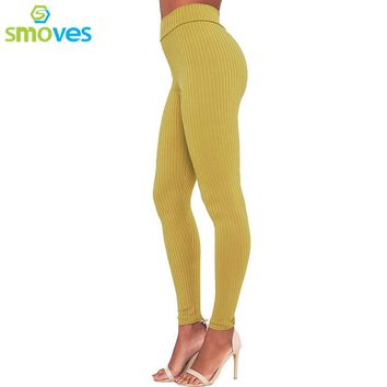 Retro Mustard High Waist Knit Ribbed Pencil Pants Good Quality Strechy Thick Warm Autumn Winter Pants Women Trousers