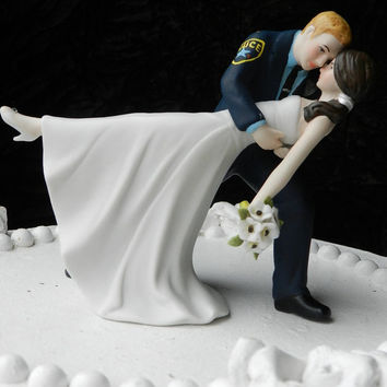Police Officer cop groom uniform Wedding Cake Topper Dance Bride Gun classic
