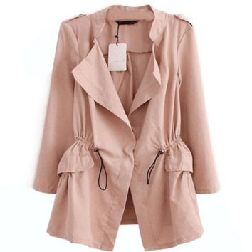 Fashion Long Sleeve Cotton Women Trench Coat