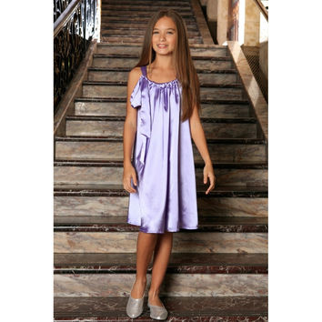 Lavender Charmeuse Halter Swing Summer Dress - Girls