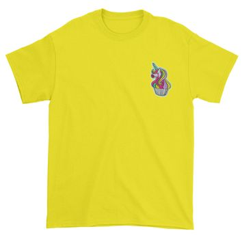 Embroidered Unicorn Cupcake Patch (Pocket Print) Mens T-shirt