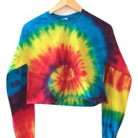 Classic Rainbow Tie-Dye Cropped Long Sleeve Unisex Tee